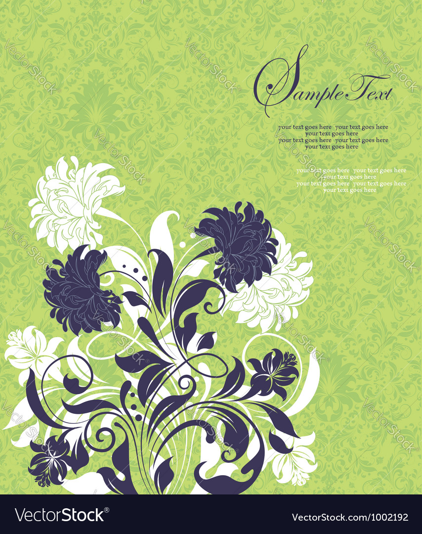 Green damask invitation card vector | Price: 1 Credit (USD $1)