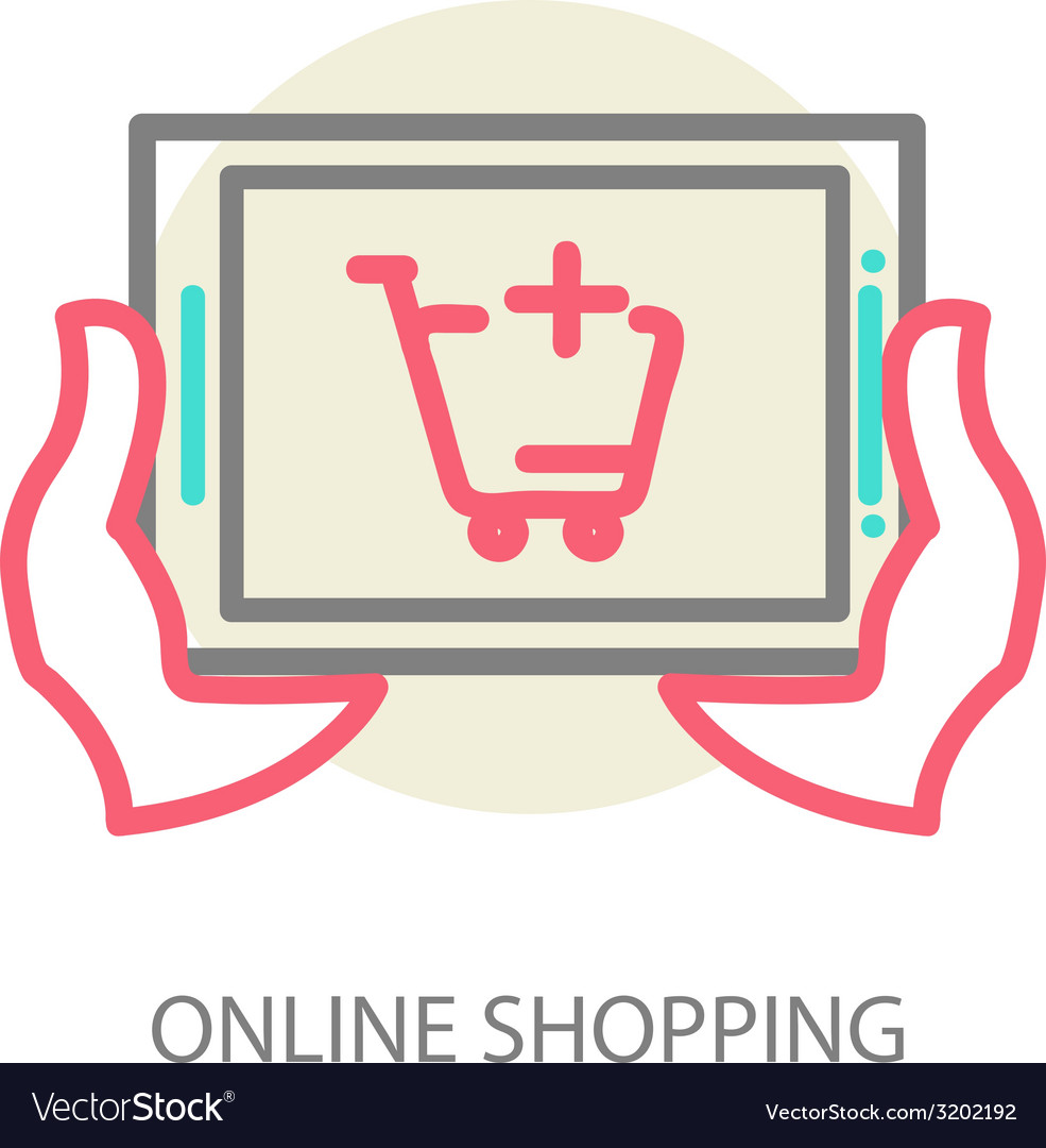 Line internet shopping concept - browser window vector   Price: 1 Credit (USD $1)