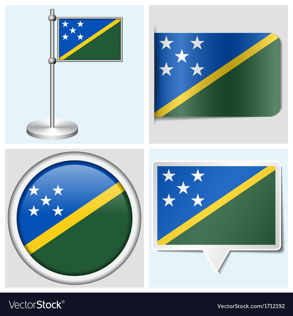 Solomon islands flag - sticker button label vector | Price: 1 Credit (USD $1)
