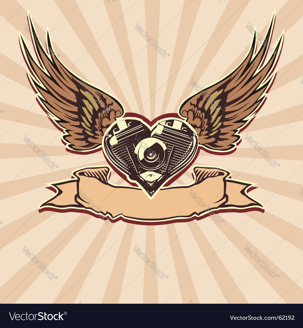 Winged motorbike symbol vector | Price: 1 Credit (USD $1)
