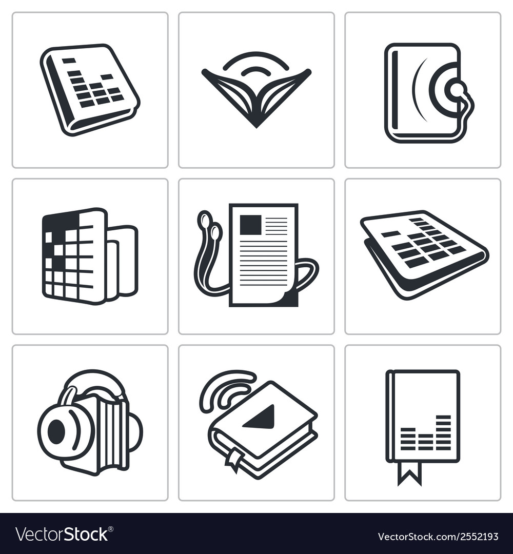 Audio book icon collection vector | Price: 1 Credit (USD $1)