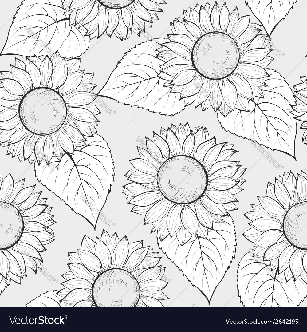 Black and white seamless background with sunflower vector | Price: 1 Credit (USD $1)