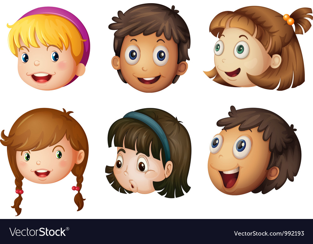 Cartoon kids faces vector | Price: 1 Credit (USD $1)