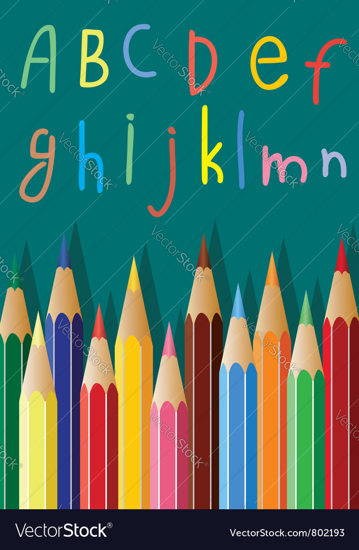 Colored pencils and alphabet letters vector | Price: 1 Credit (USD $1)