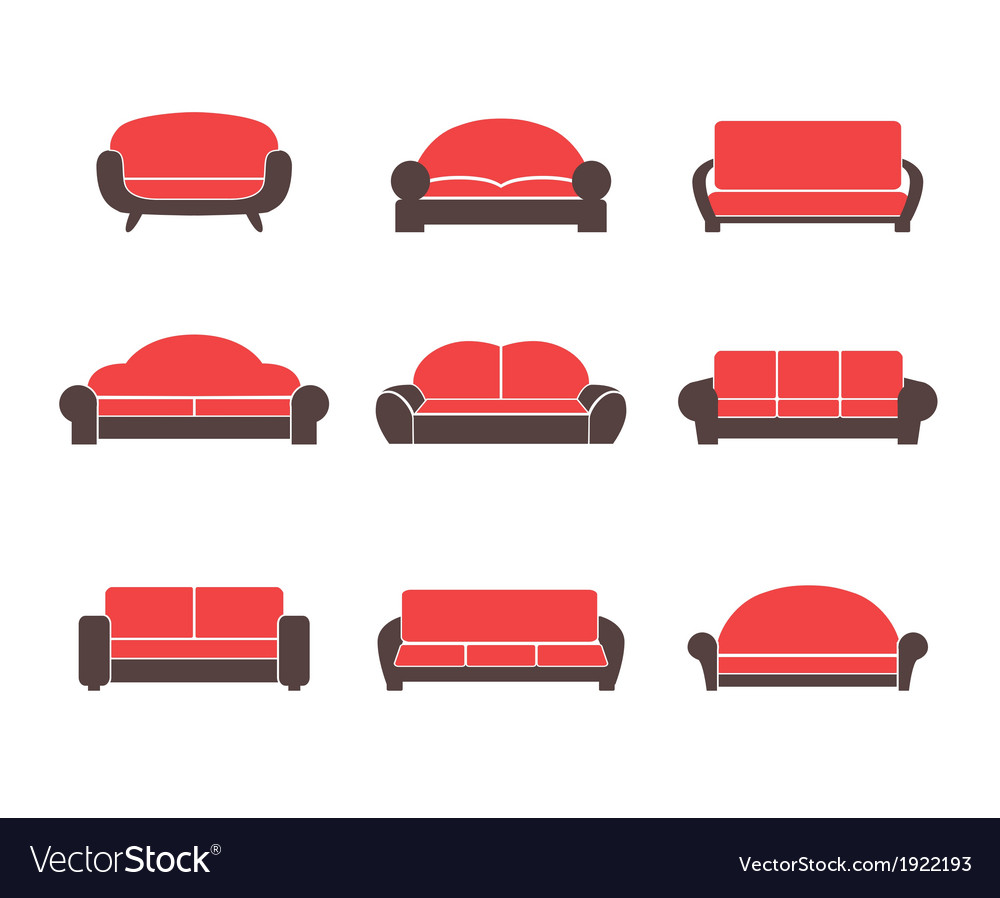 Comfortable sofas and couches vector | Price: 1 Credit (USD $1)
