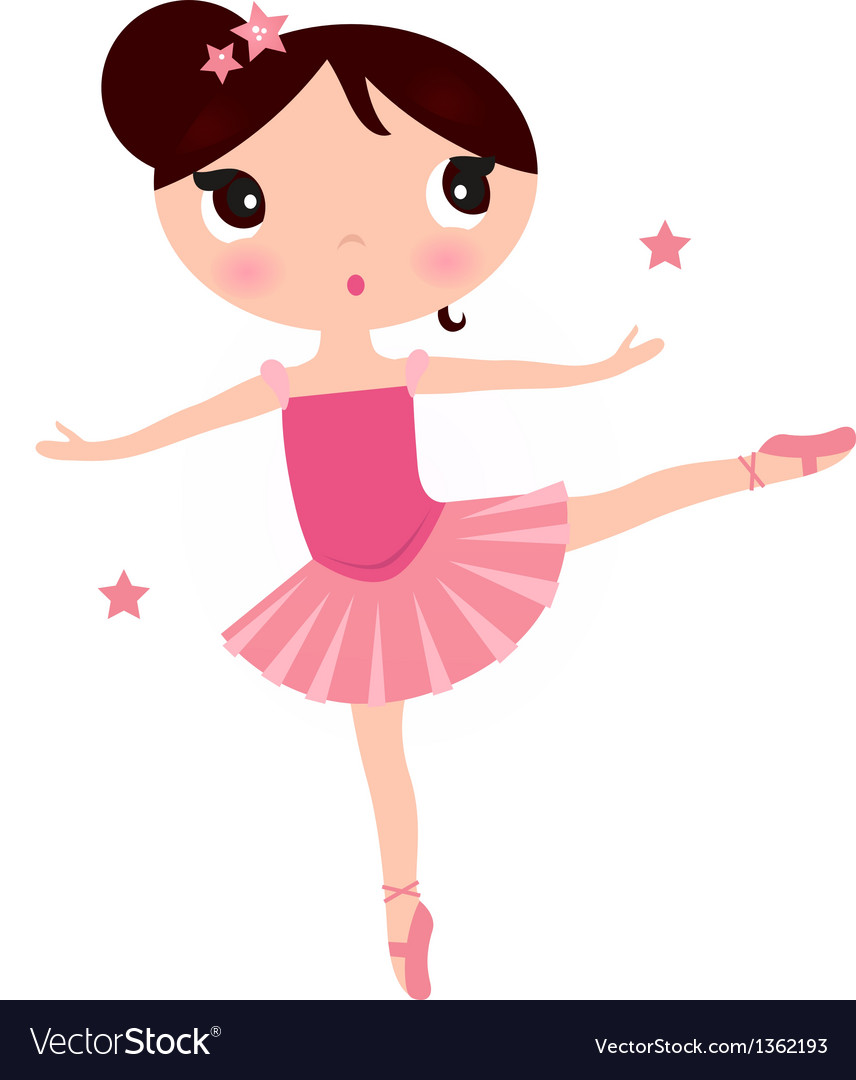 Cute pink ballerina girl isolated on white vector | Price: 1 Credit (USD $1)