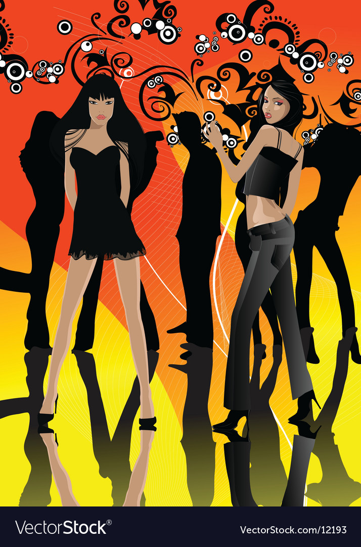 Dance party gals vector | Price: 10 Credit (USD $10)