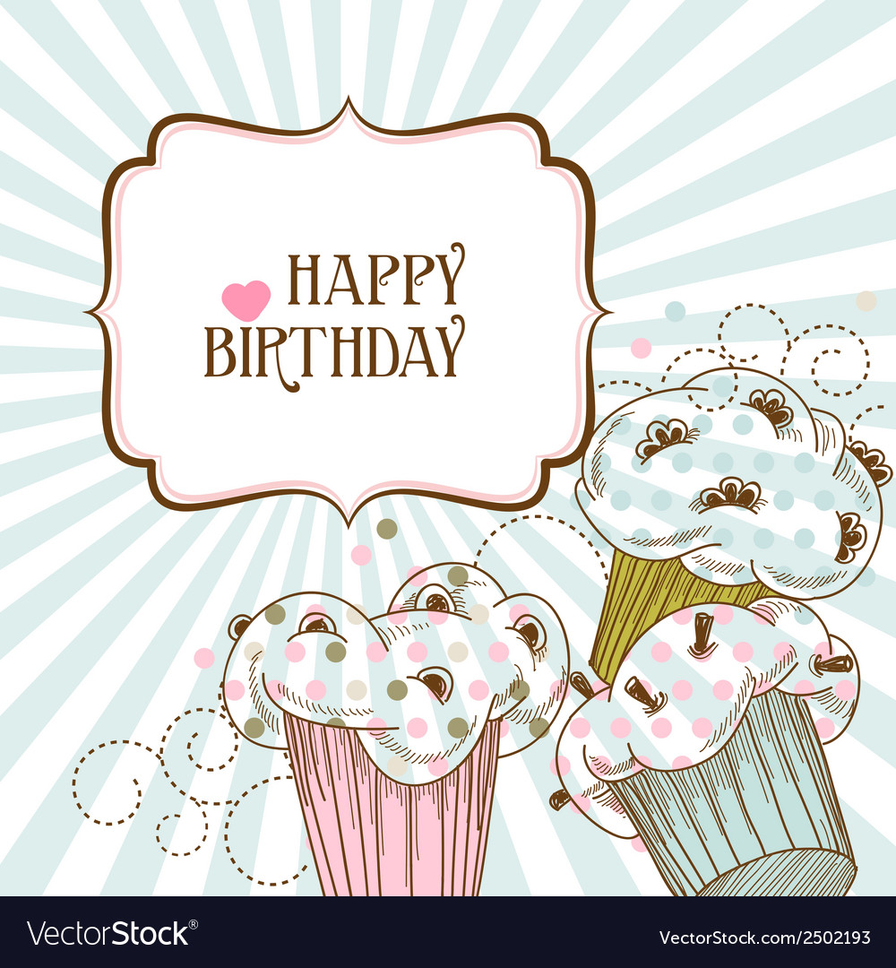 Happy birthday card with cupcakes vector | Price: 1 Credit (USD $1)