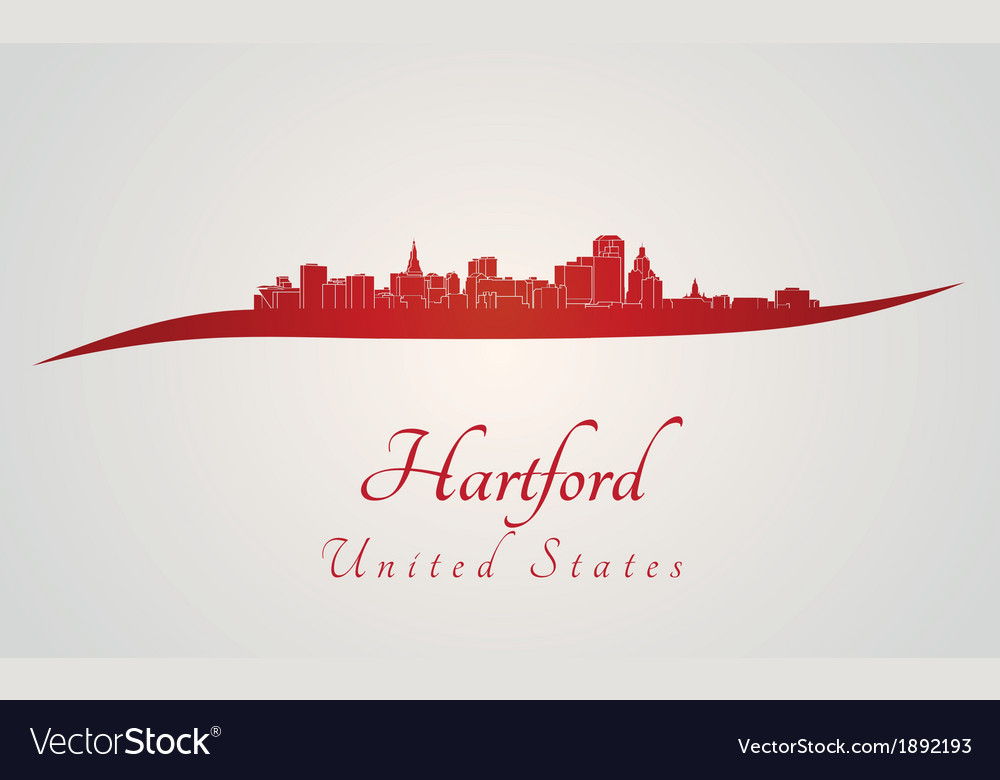 Hartford skyline in red vector | Price: 1 Credit (USD $1)