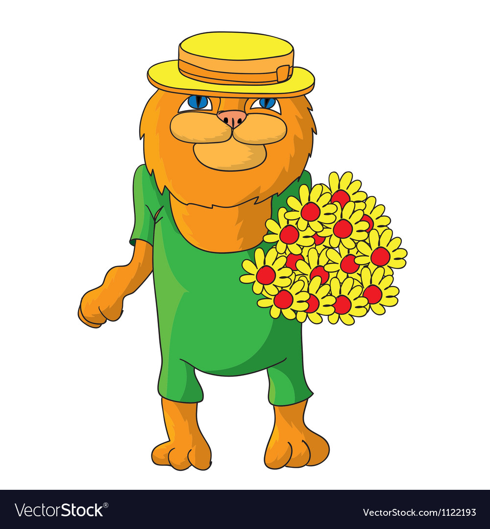 Hilarious cat in a straw hat vector | Price: 1 Credit (USD $1)