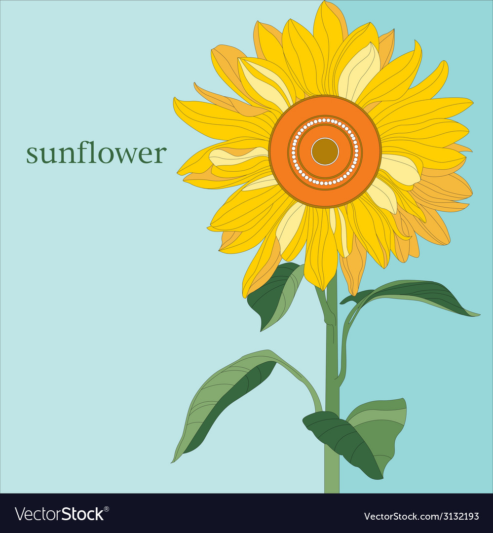 Ornamental sunflower on blue sky vector | Price: 1 Credit (USD $1)