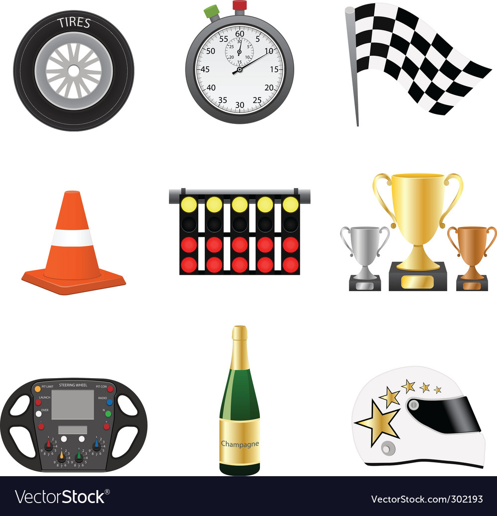 Race objects icons vector | Price: 3 Credit (USD $3)