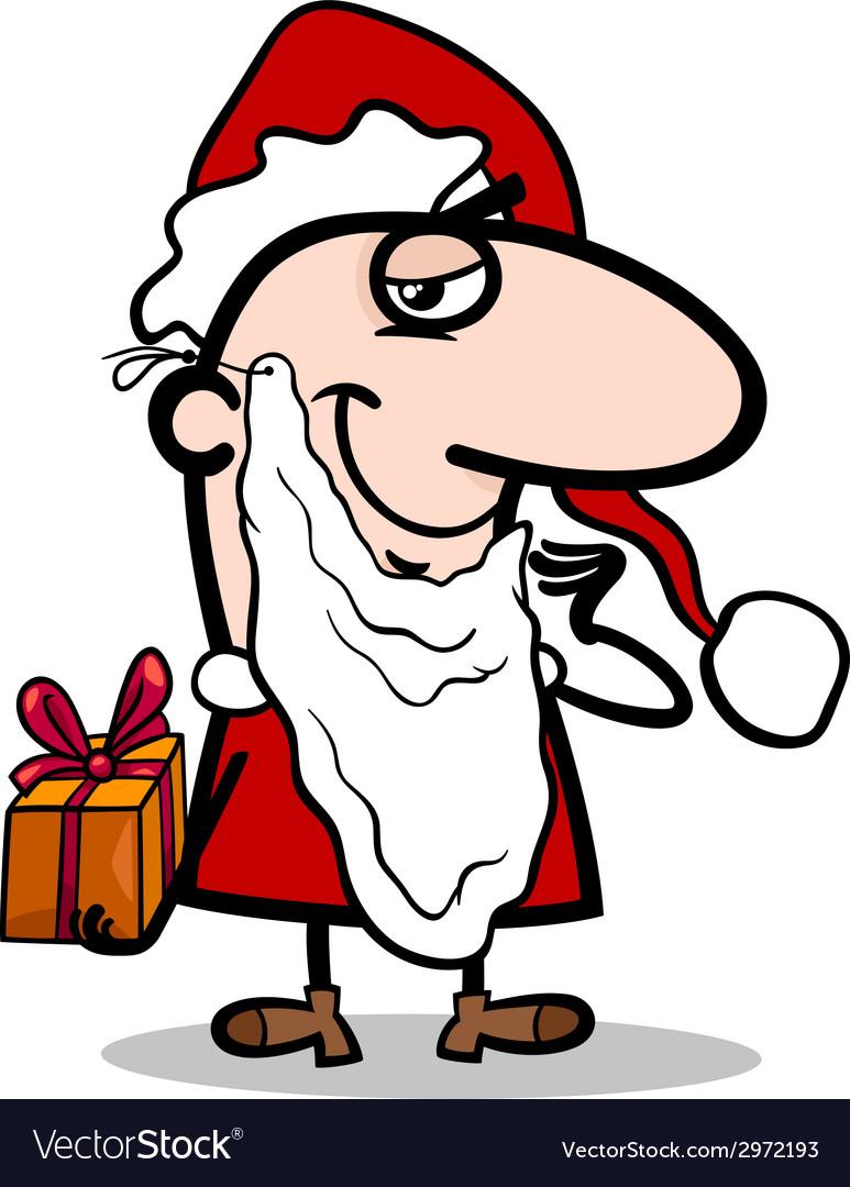 Santa with gift cartoon vector | Price: 1 Credit (USD $1)