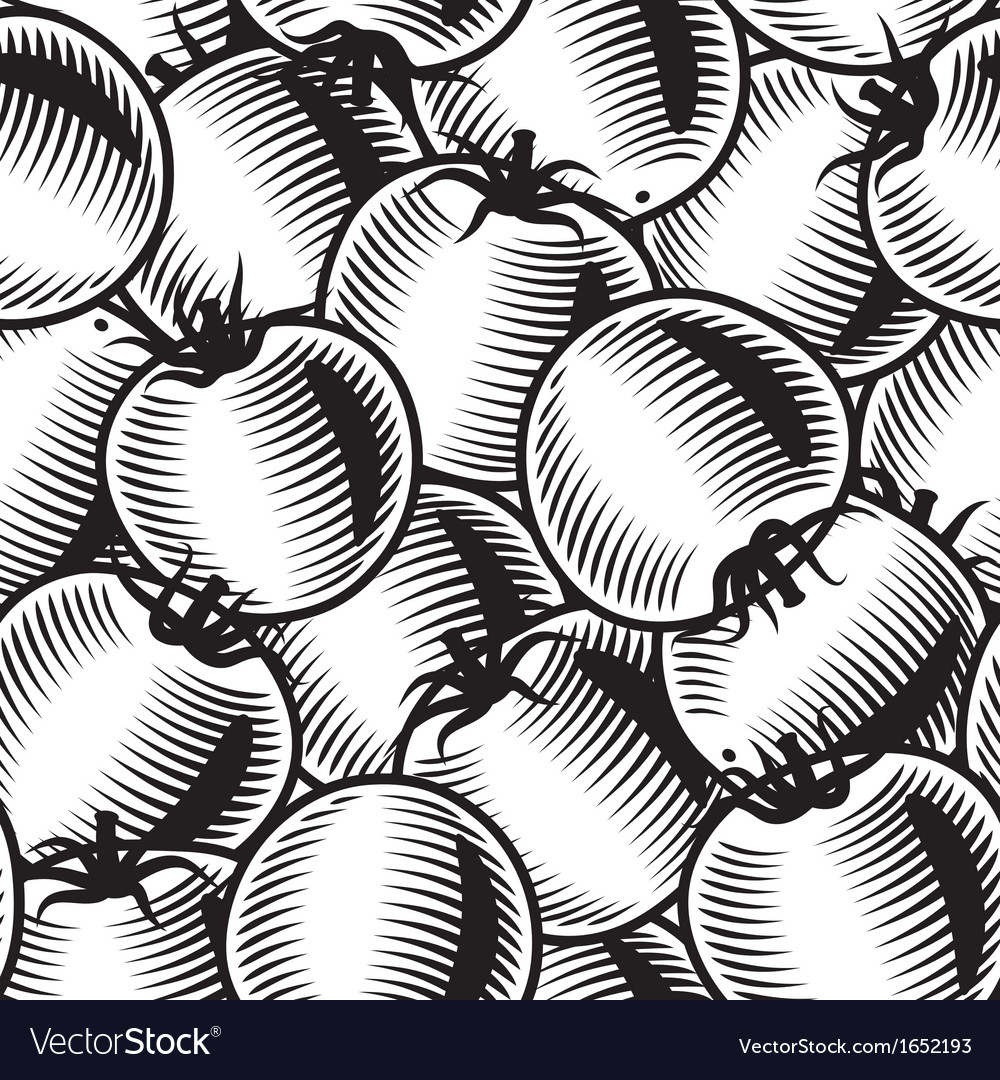 Seamless tomato background black and white vector | Price: 1 Credit (USD $1)