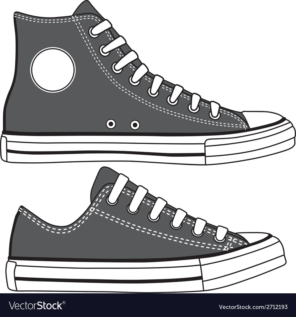 Set of high and low sneakers drawn vector | Price: 1 Credit (USD $1)