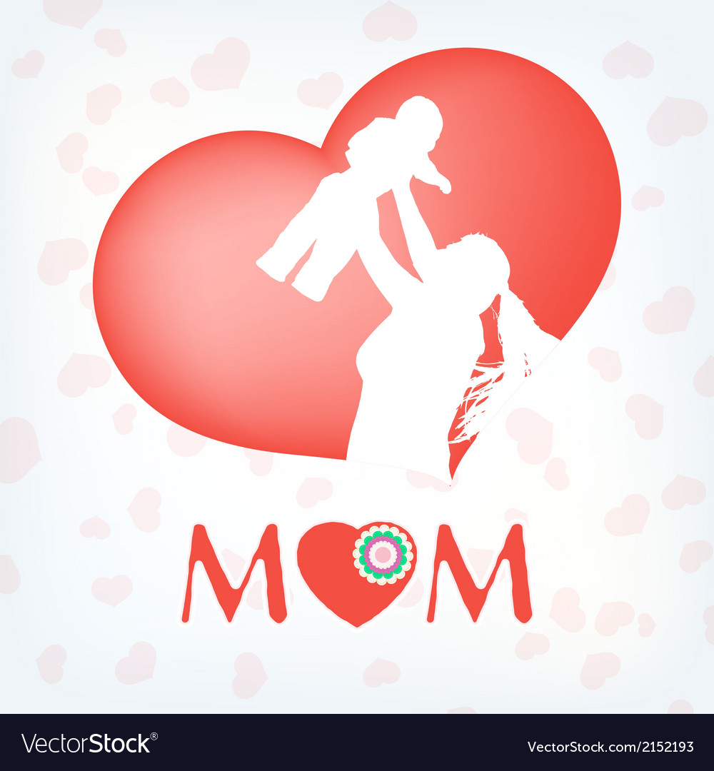Silhouette of a mother and her child eps 10 vector | Price: 1 Credit (USD $1)