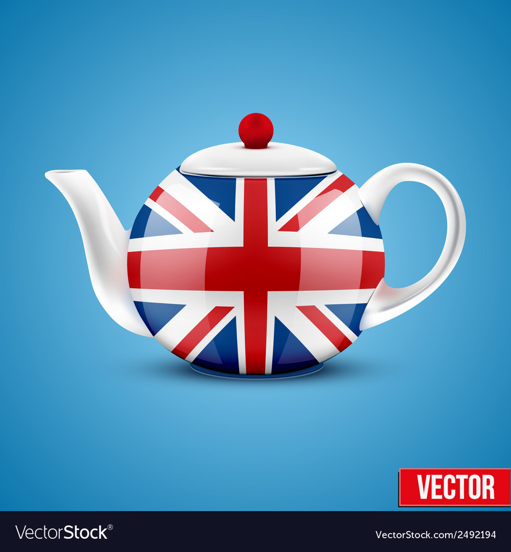 Background of english ceramic teapot with flag of vector | Price: 1 Credit (USD $1)