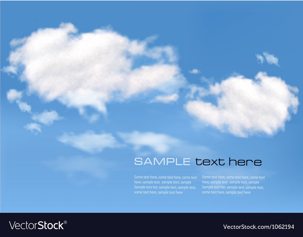 Blue sky with clouds background vector   Price: 1 Credit (USD $1)