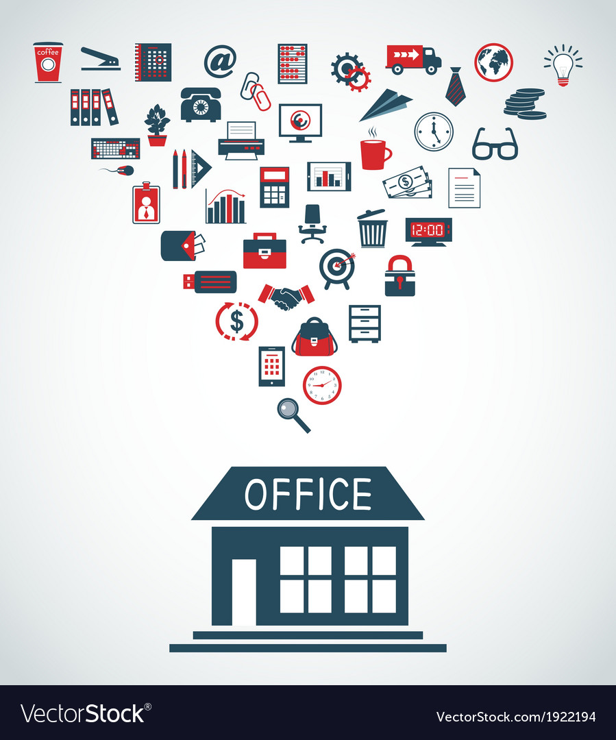Business office building concept vector | Price: 1 Credit (USD $1)