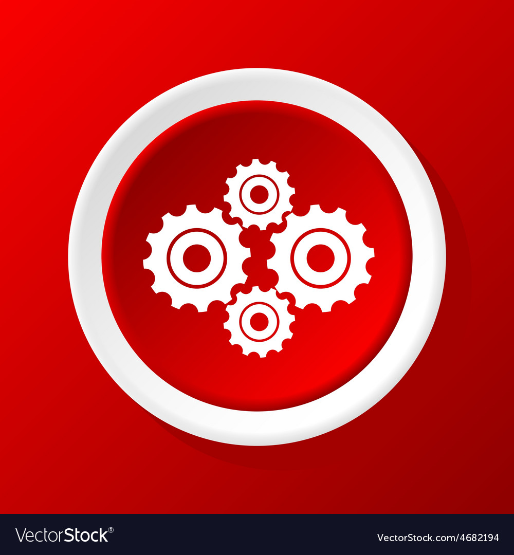 Cogs icon on red vector | Price: 1 Credit (USD $1)