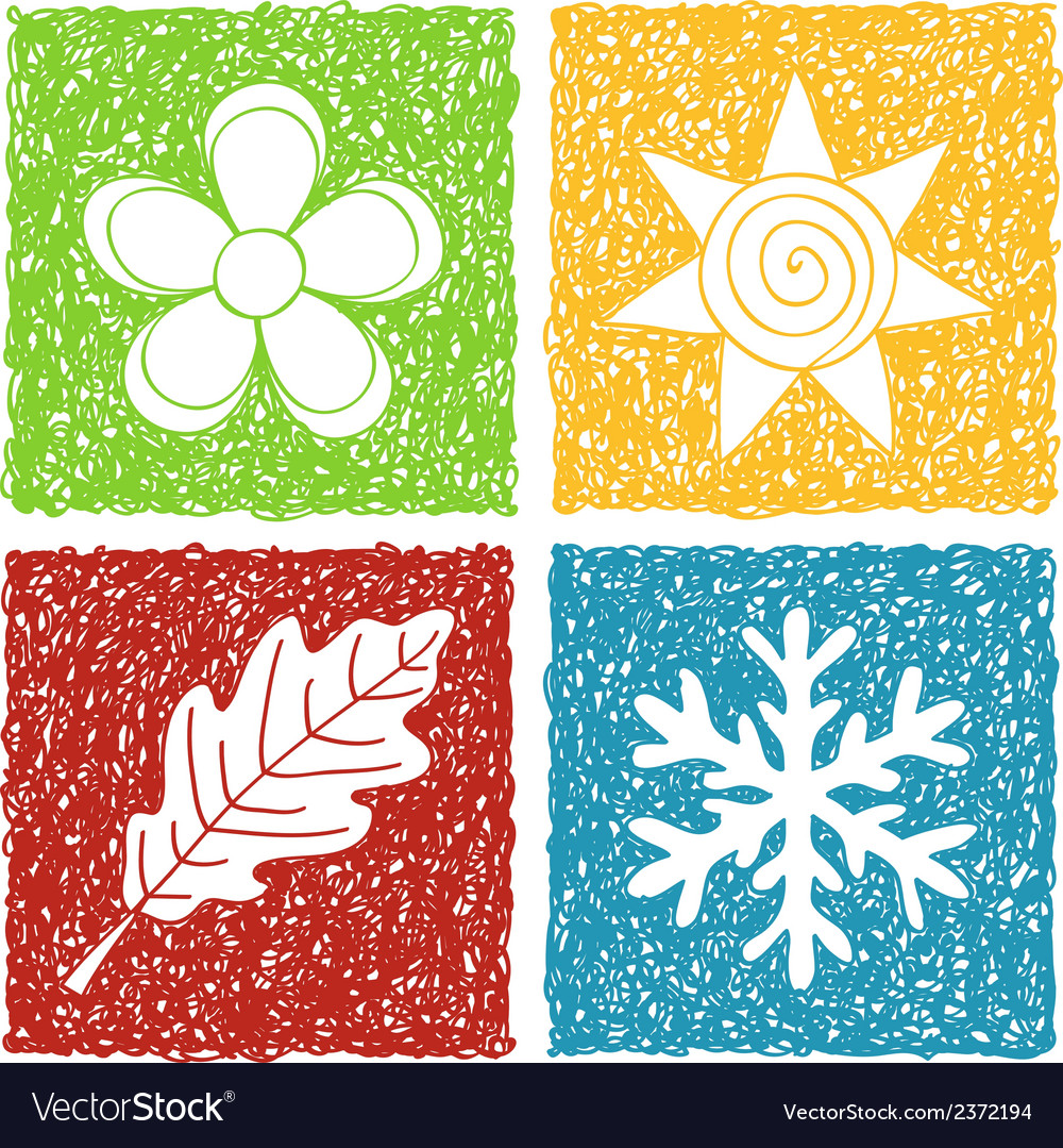 Four seasons doodle icons vector | Price: 1 Credit (USD $1)