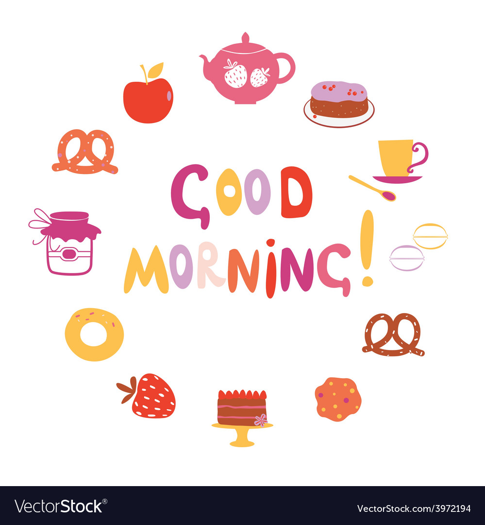 Good morning design with sweets vector | Price: 1 Credit (USD $1)
