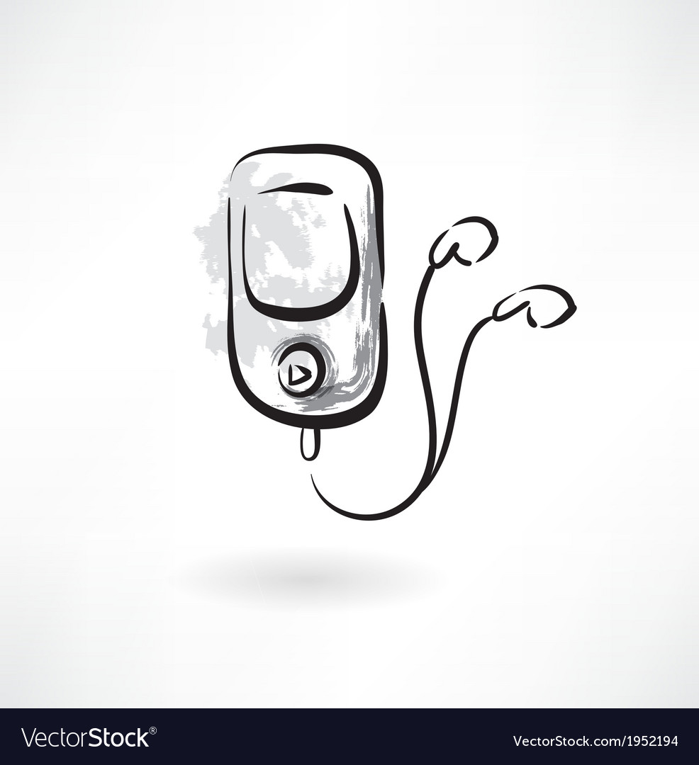 Mp3 player grunge icon vector | Price: 1 Credit (USD $1)