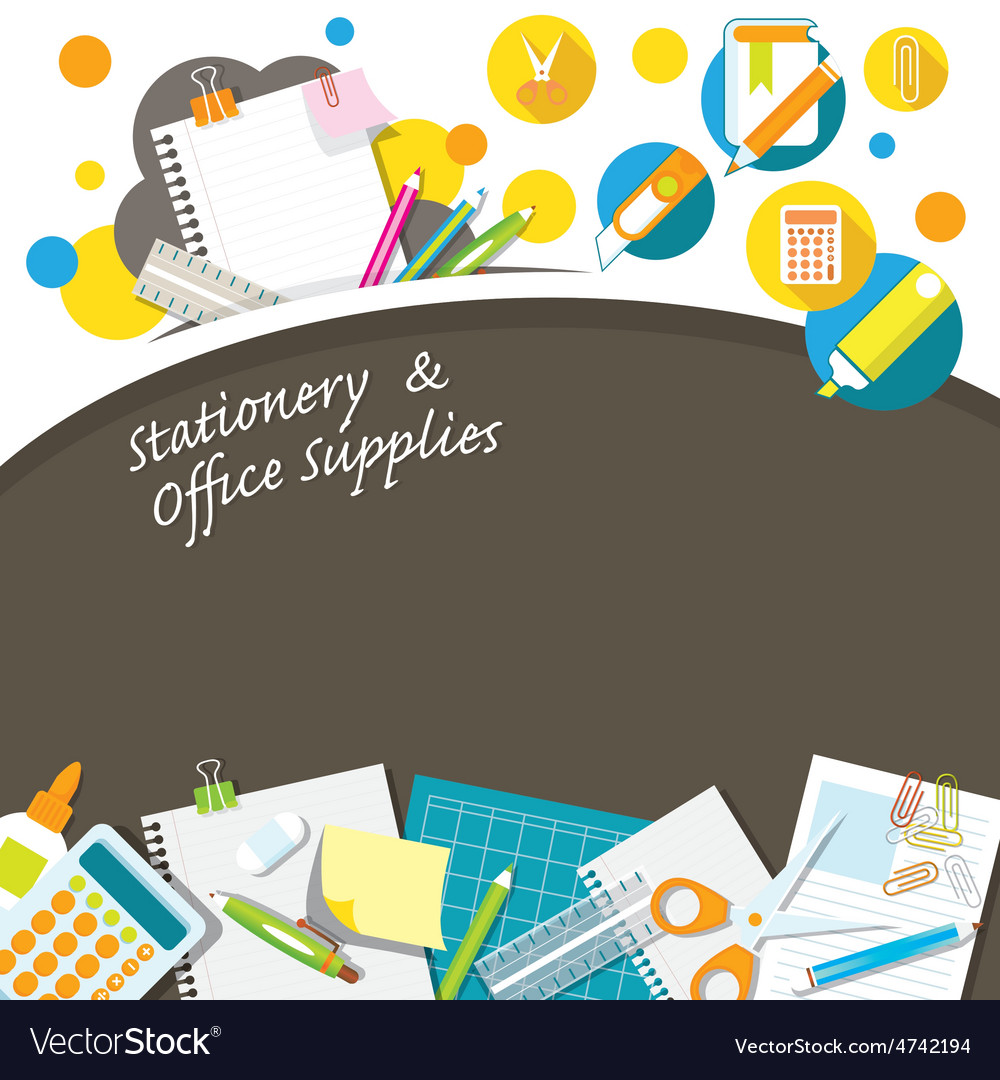 Office supplies and stationery background frame vector | Price: 3 Credit (USD $3)