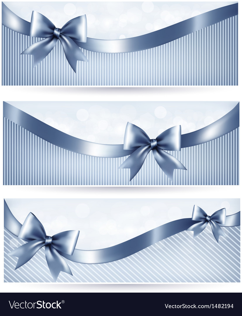 Set of blue holiday banners with gift glossy bow vector | Price: 1 Credit (USD $1)