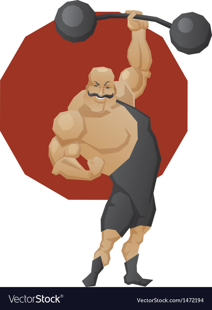 Smiling strong man lift a barbell vector | Price: 3 Credit (USD $3)