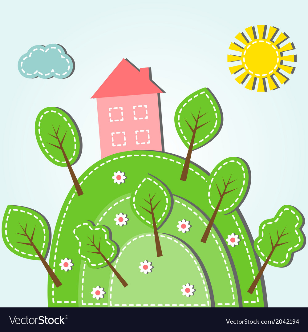 Spring hilly landscape with house dashed style vector
