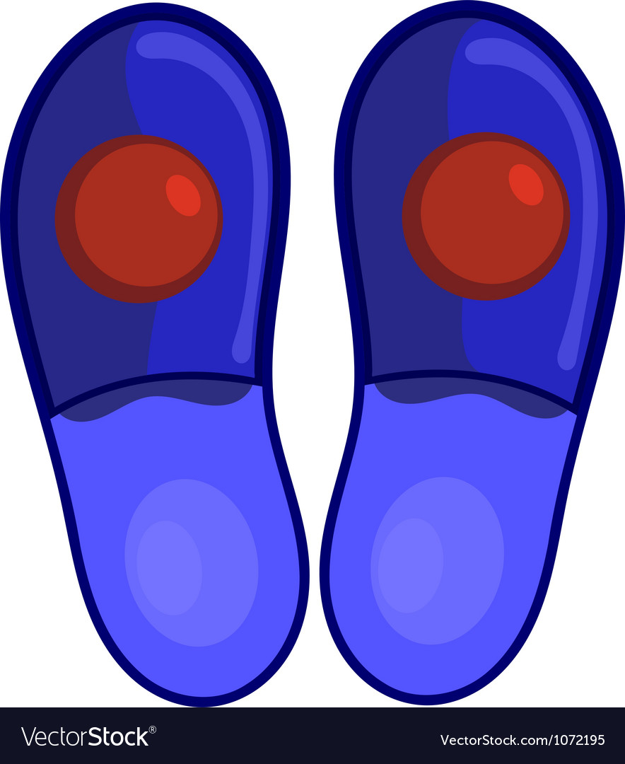 Blue bedroom slippers with red pompoms eps10 vector | Price: 1 Credit (USD $1)