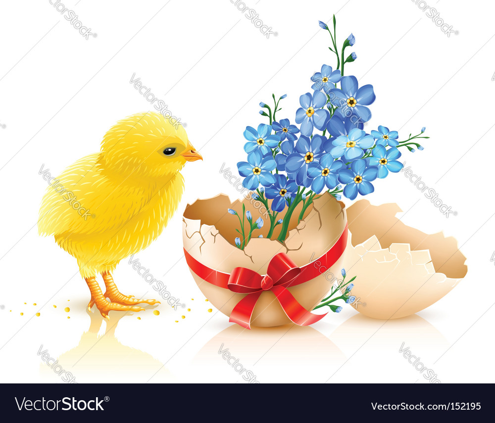 Easter holiday illustration with chicken vector | Price: 3 Credit (USD $3)