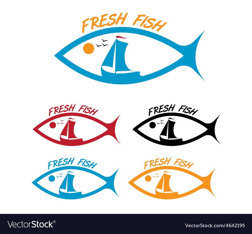 Emblems of fresh fish vector   Price: 1 Credit (USD $1)