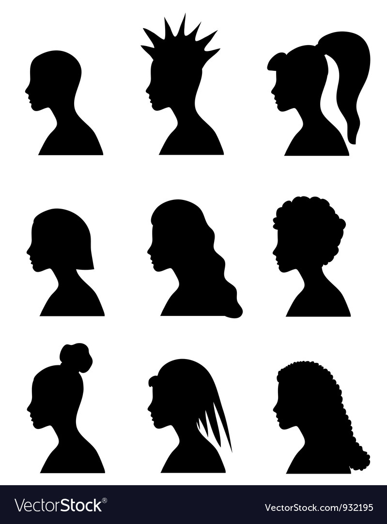 Fashion girl hairstyles set vector | Price: 1 Credit (USD $1)