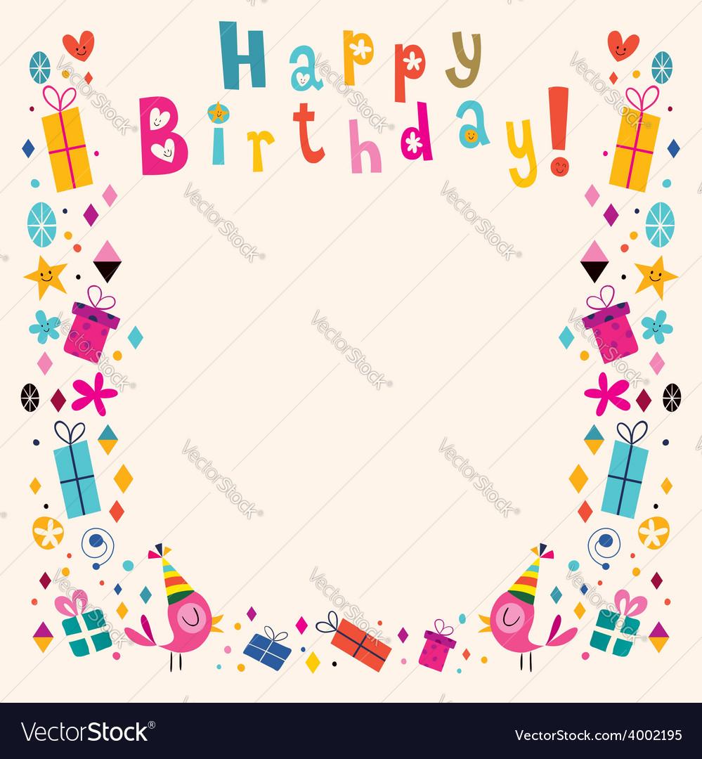 Happy birthday border retro card vector
