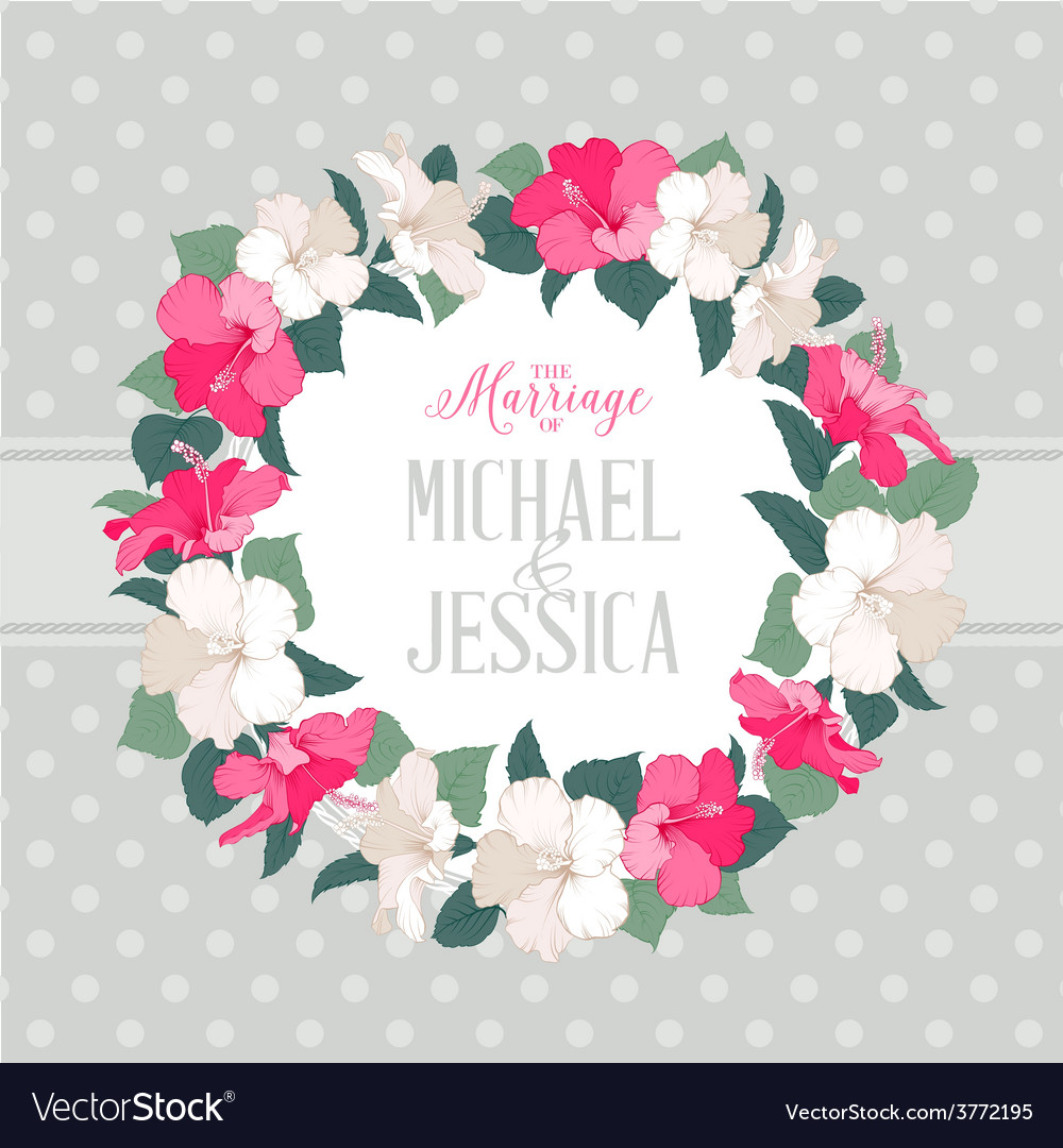 Hibiscus flower wreath vector   Price: 1 Credit (USD $1)