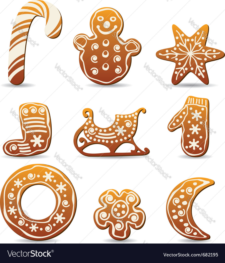 Holiday gingerbread cookies vector | Price: 1 Credit (USD $1)