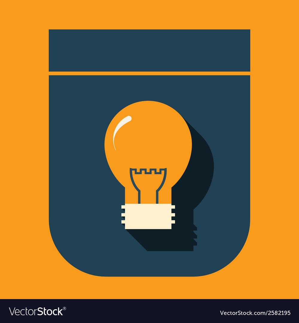 Icon glowing light bulb on a simple shield vector   Price: 1 Credit (USD $1)