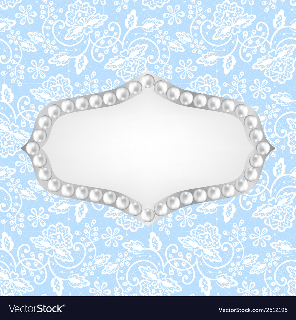 Pearl frame on lace background vector | Price: 1 Credit (USD $1)