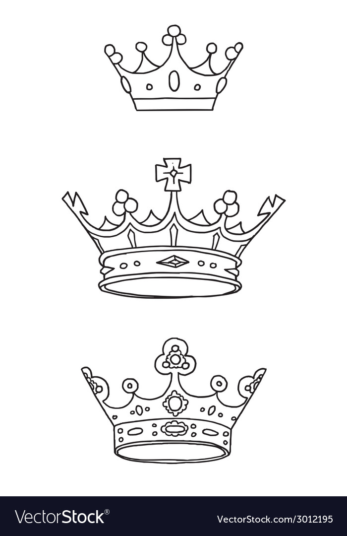 Set of three hand drawn crowns vector