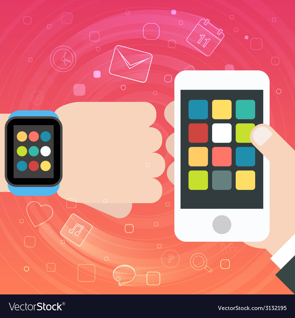 Smart watch and smartphone synchro concept vector | Price: 1 Credit (USD $1)