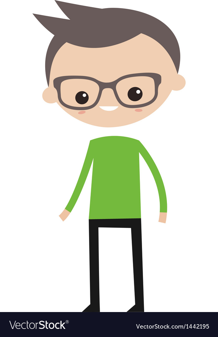 Smiling boy with glasses vector | Price: 1 Credit (USD $1)