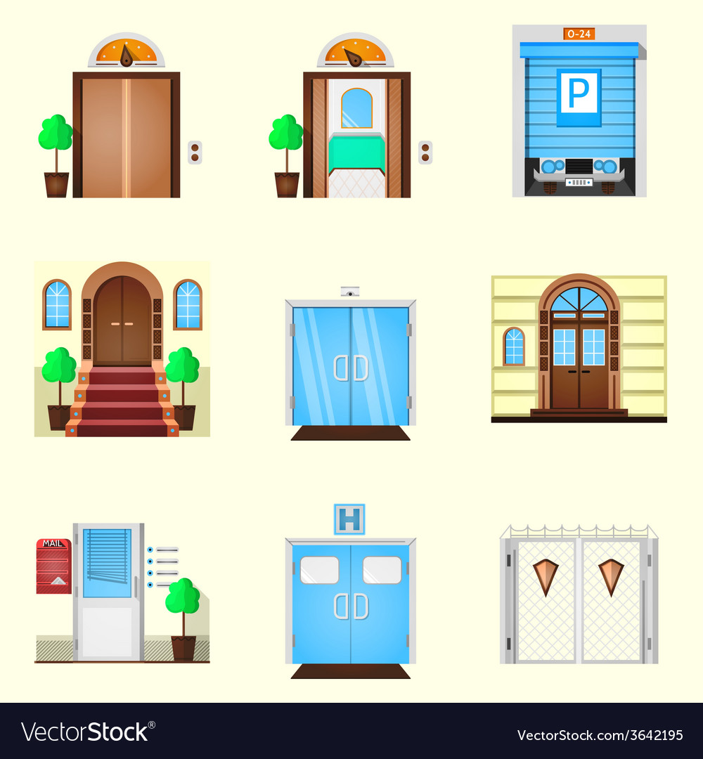 Stylized colorful icons for door vector | Price: 1 Credit (USD $1)