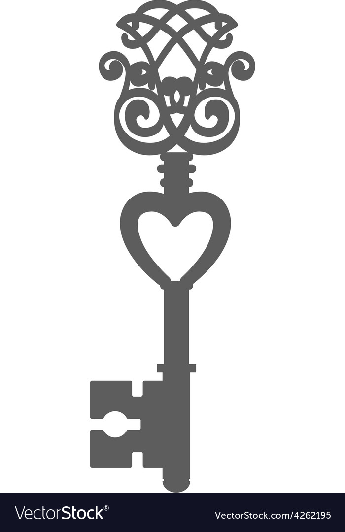 Vintage key silhouette isolated on white vector | Price: 1 Credit (USD $1)
