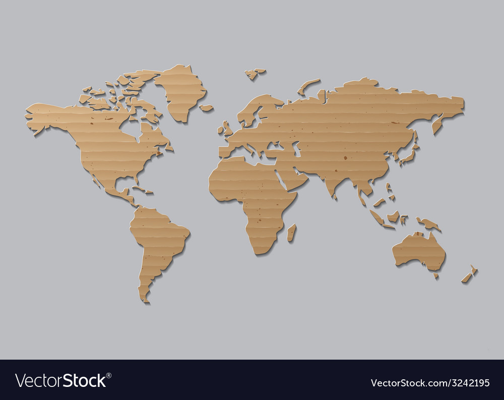 World map brown cardboard vector | Price: 1 Credit (USD $1)