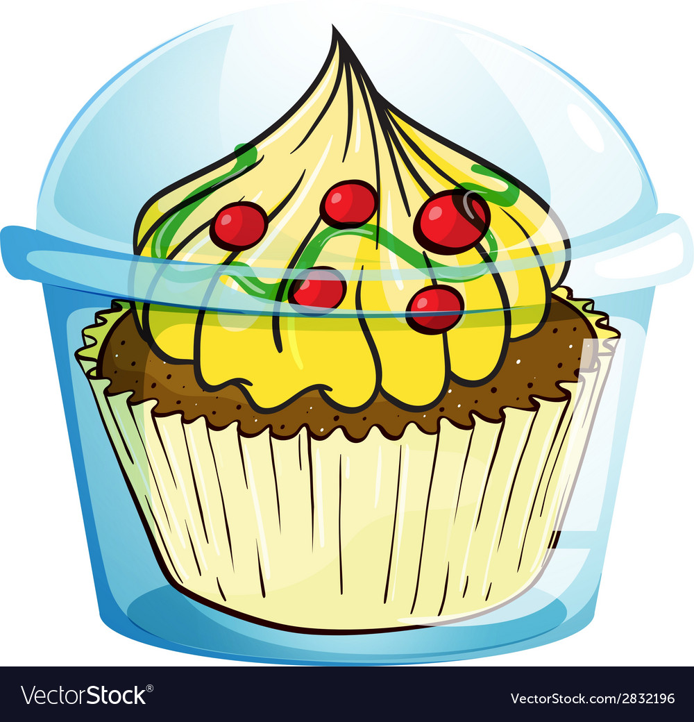 A cupcake inside the container vector | Price: 1 Credit (USD $1)