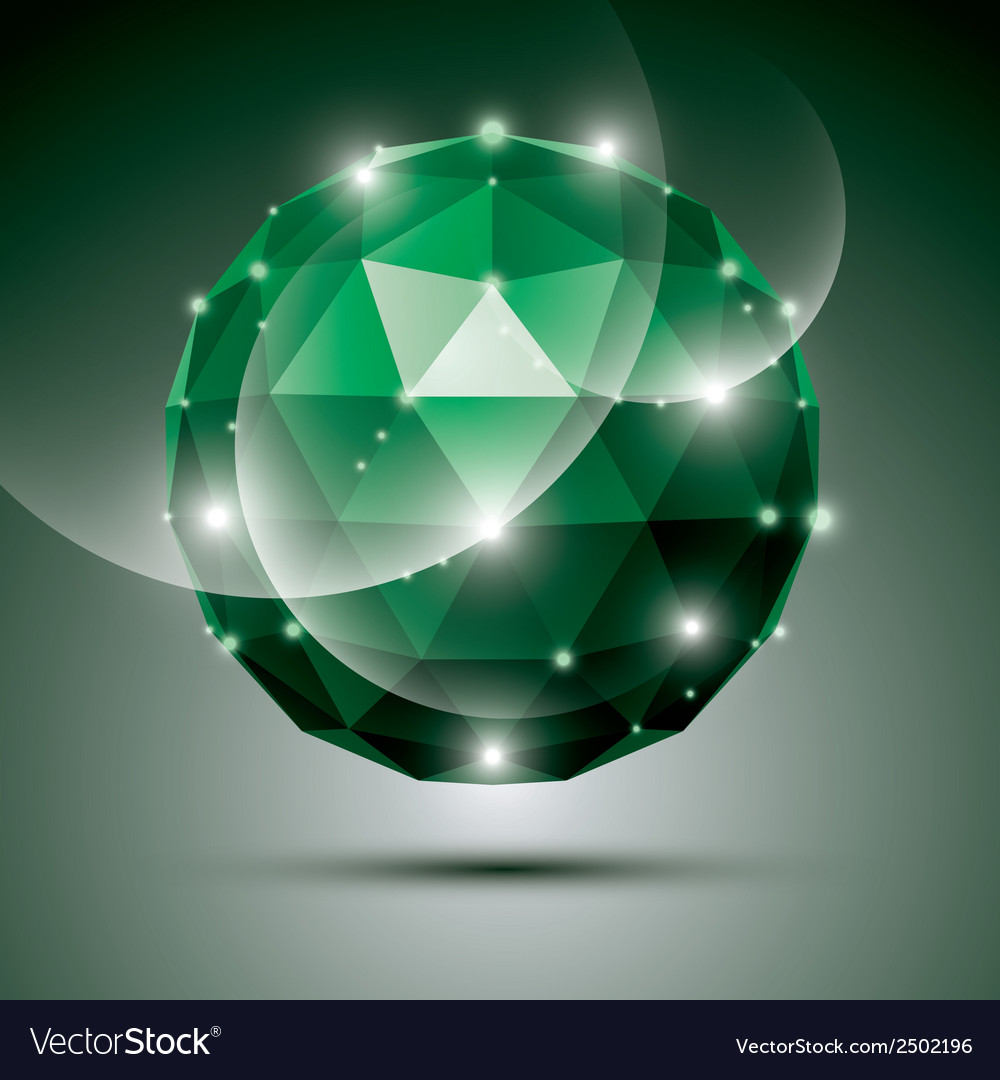 Abstract 3d emerald gala sphere with gemstone vector | Price: 1 Credit (USD $1)
