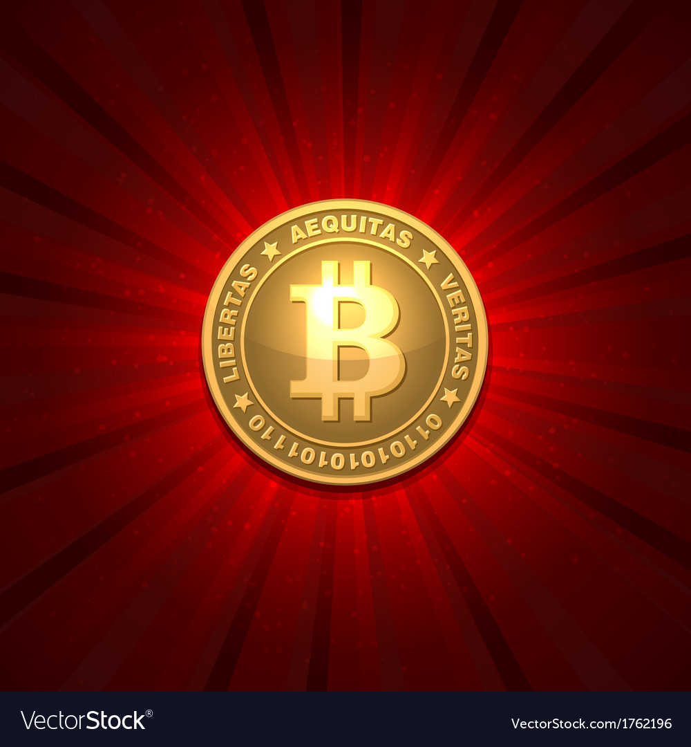 Bitcoin on red background vector | Price: 1 Credit (USD $1)