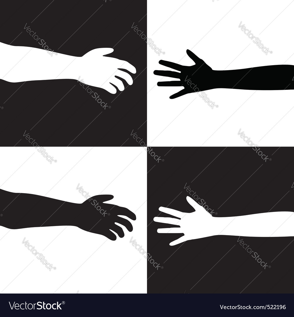 Black and white hands vector | Price: 1 Credit (USD $1)
